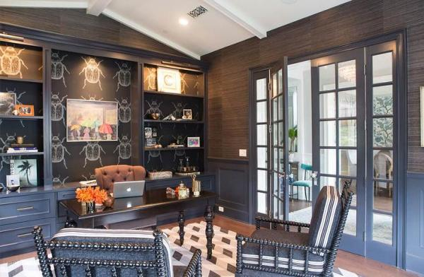 dark grey home office Black Paneled Office with Vaulted Ceiling - Eclectic - Den