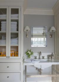 Ivory and Gray Bathroom with Glass Door Linen Cabinet ...