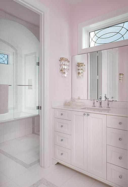Pale Pink Girls bathroom with White Capiz Wall Sconce  Traditional  Bathroom