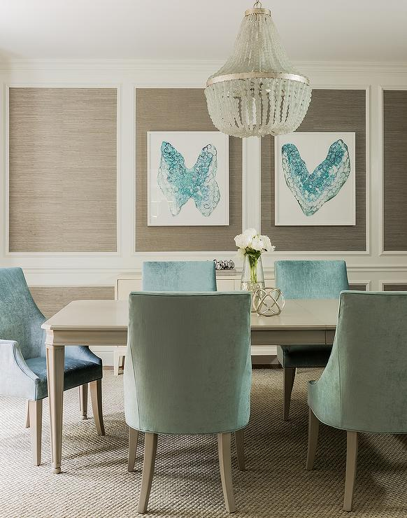 Blue and Taupe Dining Room with Nickel and Glass Console