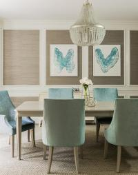 Blue and Taupe Dining Room with Nickel and Glass Console ...