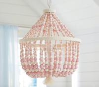 Pink and White Wooden Beads Chandelier