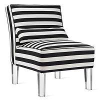 Black and White Striped Slipper Chair