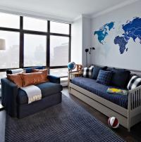 Blue and Gray Boys Room with Gray Spindle Daybed ...