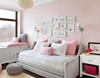 Pink and Gray Bedroom with Pink Door and Gray Tufted ...