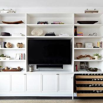 wine rack in living room contemporary grey design ideas built shelves with flat panel tv and picture lights