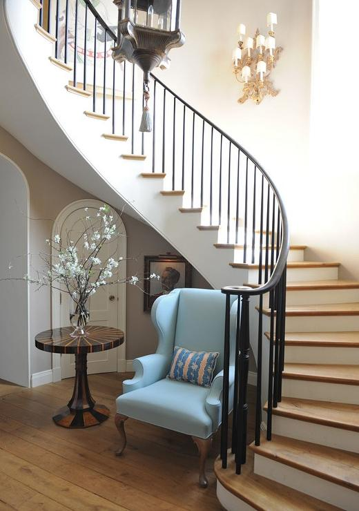 Shelves and Table Under Staircase Wall  Transitional