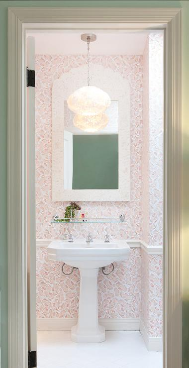 Coral Pink Powder Room with Cream Bone Inlay Mirror  Cottage  Bathroom