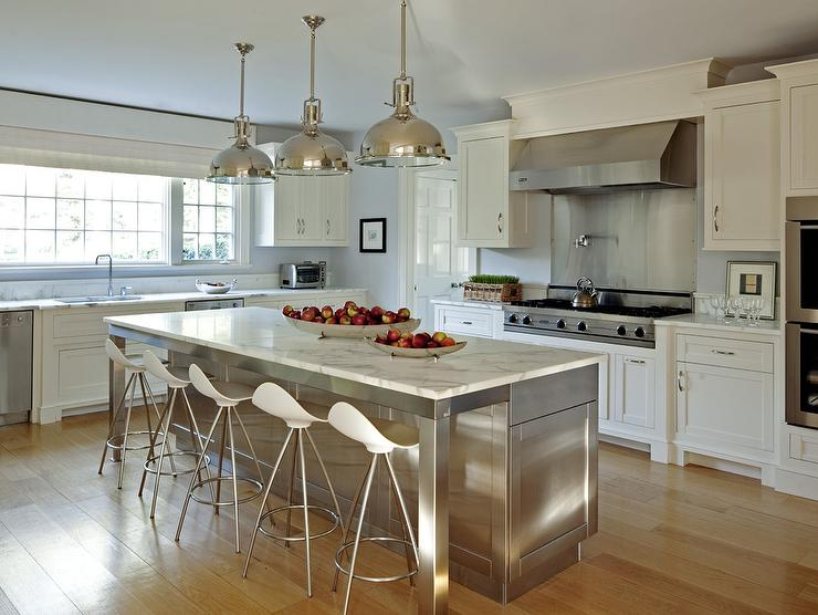 Stainless Steel Kitchen Island With Marble Countertops And Onda