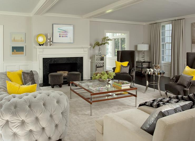 pictures of light grey living rooms walnut furniture room yellow and gray with velvet tufted curved sofa