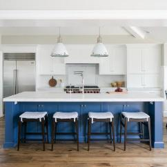 Blue Kitchen Island Sets For Sale With Pacific White Marble Countertop