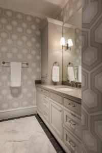 White and Beige Bathroom with Beige Hexagon Wallpaper ...