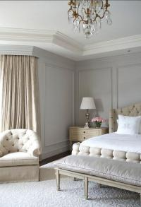 Beige and Gray Bedroom with Gray Wall Moldings - French ...
