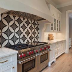 Black And White Tile Kitchen Home Depot Shelves Cooktop With Cement Circle Backsplash Tiles