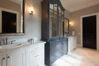 Dark Gray Distressed Bathroom Linen Cabinet with Antiqued ...