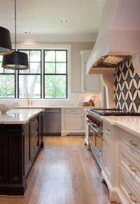 White Kitchen with Black Island and White Marble ...