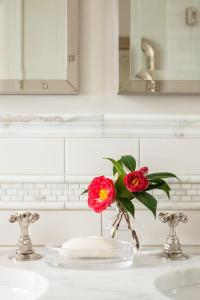 Master Bath with White Subway Tiles with Marble Pencil