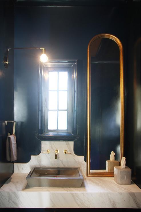 Black and Gold Powder Room with Wood Sink Vanity