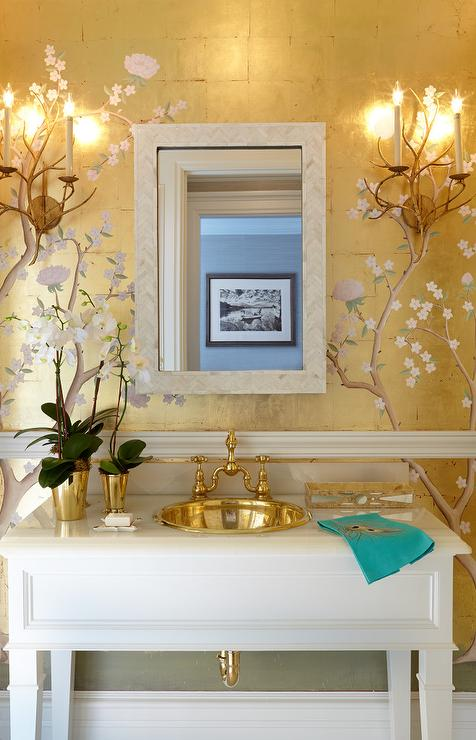 Chinoiserie Powder Room with Gold Metallic Wallpaper and Chair Rail  Asian  Bathroom