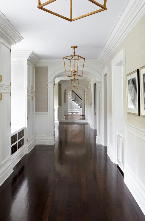 Dark Stained Pecky Cypress Plank Ceiling with Arched Doorways  Cottage  Entrancefoyer