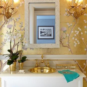 Small White and Tan Powder Room with Herringbone Tile