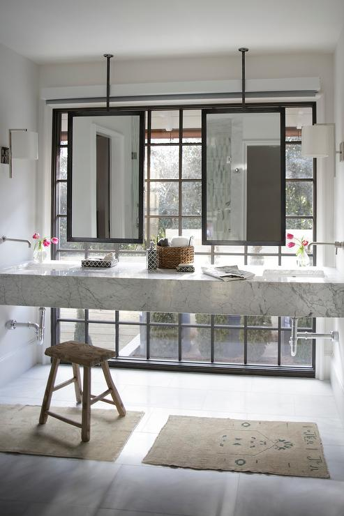 Bathroom Vanity in Front of Window  Contemporary