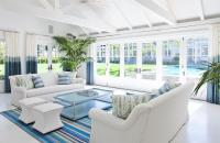 White and Blue Living Room with Blue Ombre Curtains ...