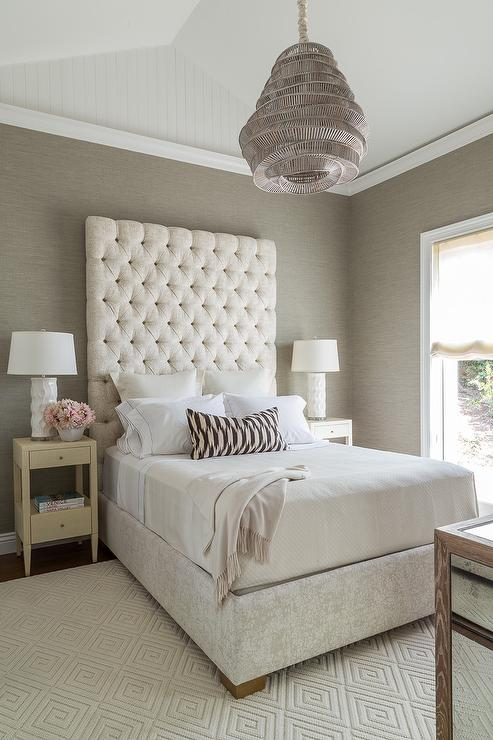Cream and Gray Bedroom with Gray Grasscloth  Transitional