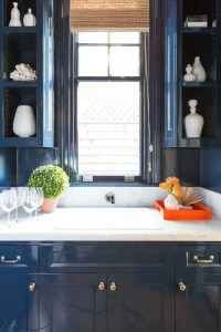 Blue Lacquer Kitchen Cabinets with Blue Beadboard Trim ...