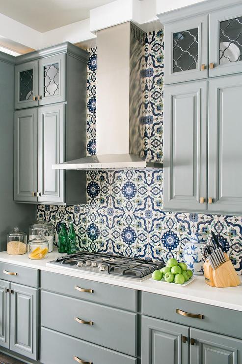 mosaic backsplash kitchen cabinet styles blue mediterranean tile transitional