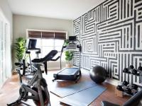 Black and White Home Gym with Graphic Hand Painted Wall ...