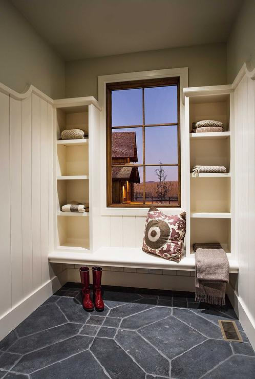 White and Gray Mudroom with Shoe Shelves  Transitional