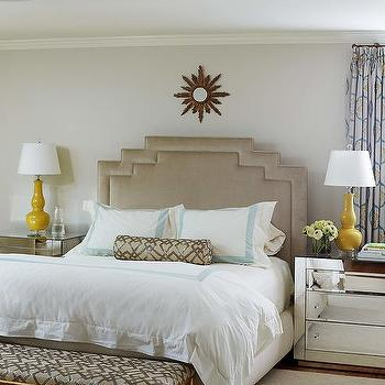 Taupe And Yellow Bedroom With Aqua Border Shams And Duvet