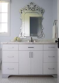 White and Blue Bathroom with Venetian Mirror ...