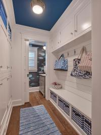White Galley Style Mudroom with Blue Ceiling - Cottage ...
