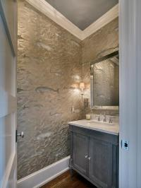 White and Gray Powder Room with Gray Wainscoting and Gray ...