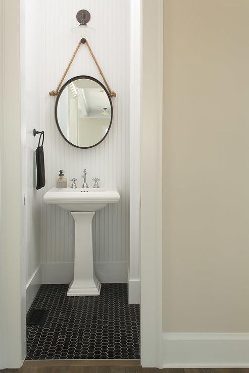 Black and White Cottage Powder Room with Rope Hung Oval