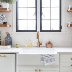 Black Faucet Kitchen Kitchens Designs Brass Gooseneck And Farmhouse Sink Under Casement Windows