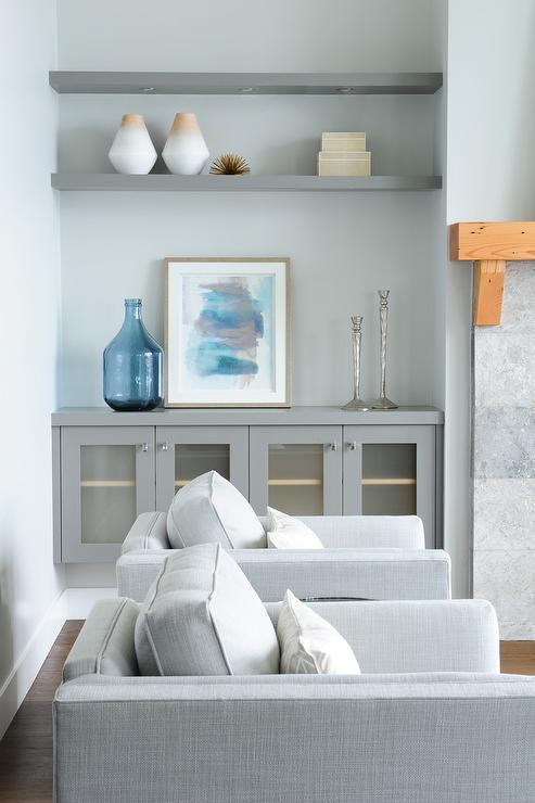 Gray Shelves In White Living Room Built In Design Ideas
