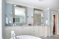 ivory and Blue Bathroom with Beaded Beveled Mirrors ...