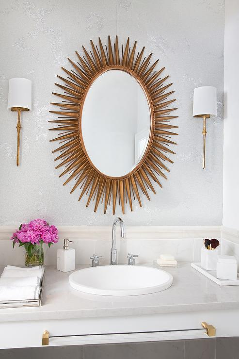 Double Floating Washstand Lining Full Length Mirror  Transitional  Bathroom