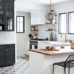 Cement Tile Kitchen Rustic Sets Star Pattern Floor Tiles Design Ideas Black And White Themed Boasts Stunning From The Shop Accented By Side Board Cabinets With China On Top
