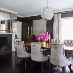 Baker Tufted Dining Chairs Hair Wash Chair Size Room With Antiqued Mirrored Fireplace Wall Transitional