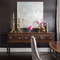 Baker Tufted Dining Chairs Swinging Chair With Stand Uk Black Room Walls Gold Candlesticks Transitional