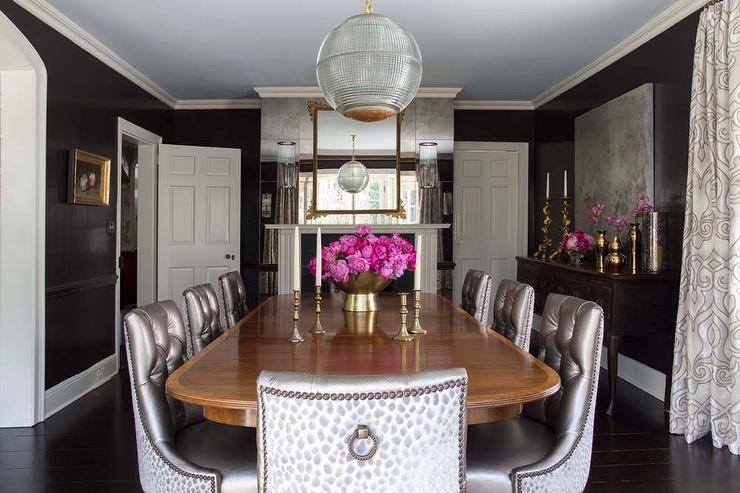 baker tufted dining chairs build adirondack chair black and gray room with antique mirror wall transitional