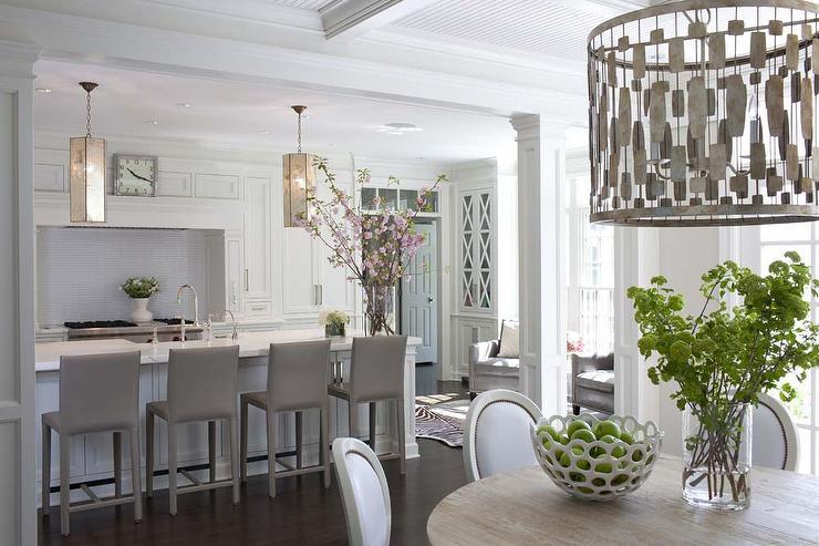 White Kitchen with Gray Folio Top Grain Leather Bar Stools