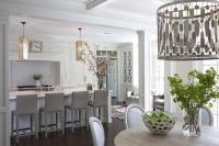 White Kitchen with Gray Folio Top Grain Leather Bar Stools ...