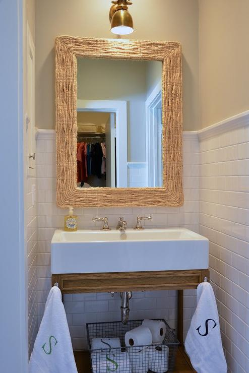 Bathroom with Seagrass Mirror and Weathered Oak Single