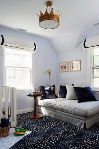 Blue and Gray Boy Nursery with Gold Crown Ceiling Light