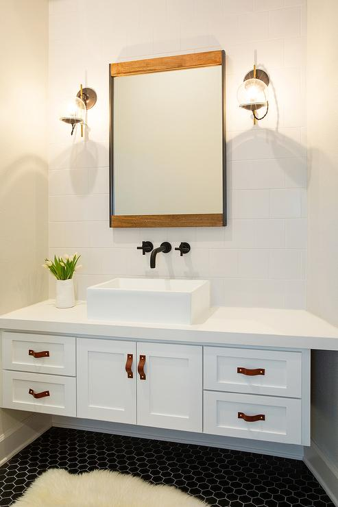 Floating Washstand with Leather Pulls Over Black Hex